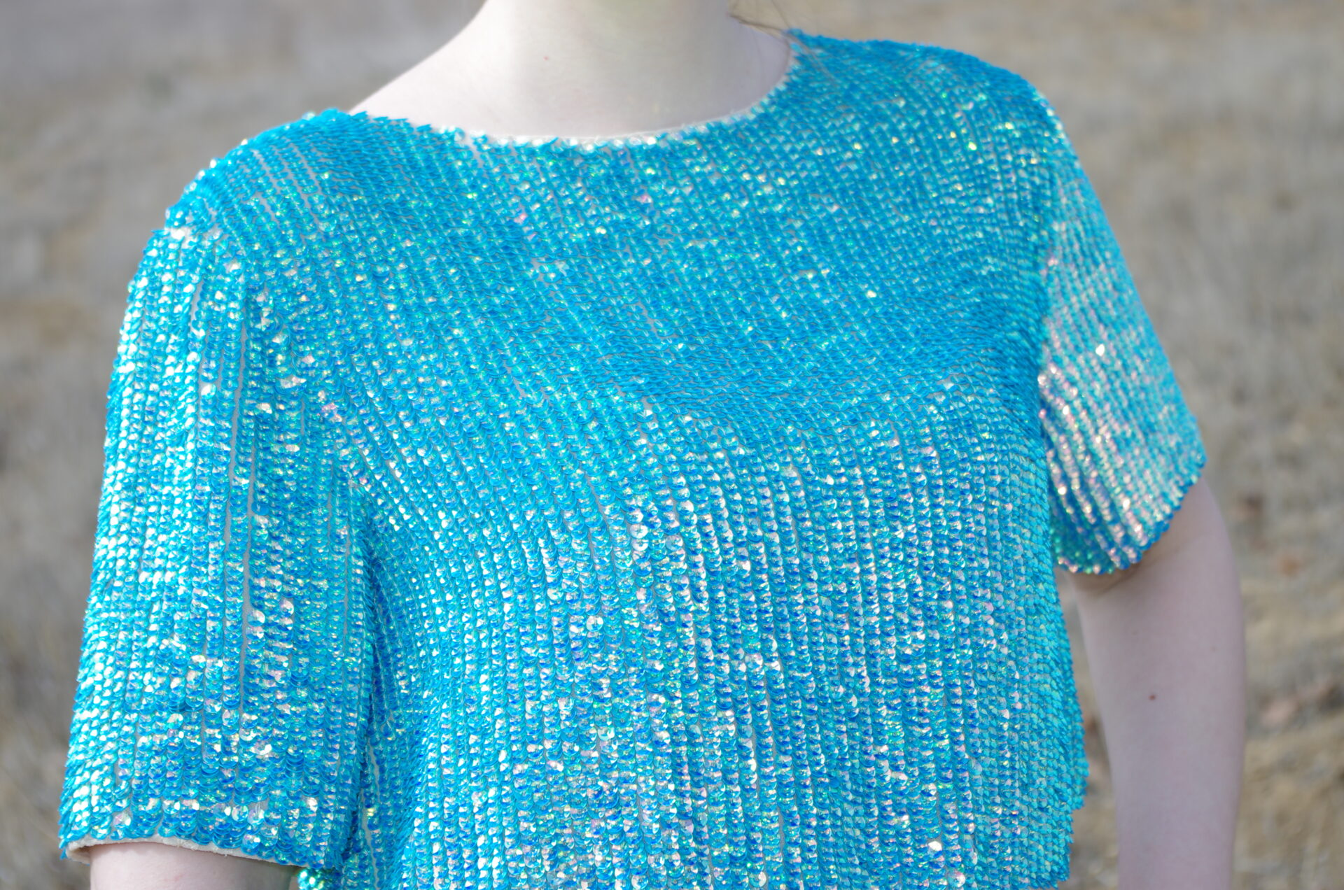 Topshop Sequined Split Back Tee
