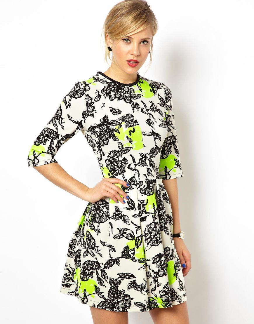 ASOS Fluro Flower Embellished Neck Shift Dress