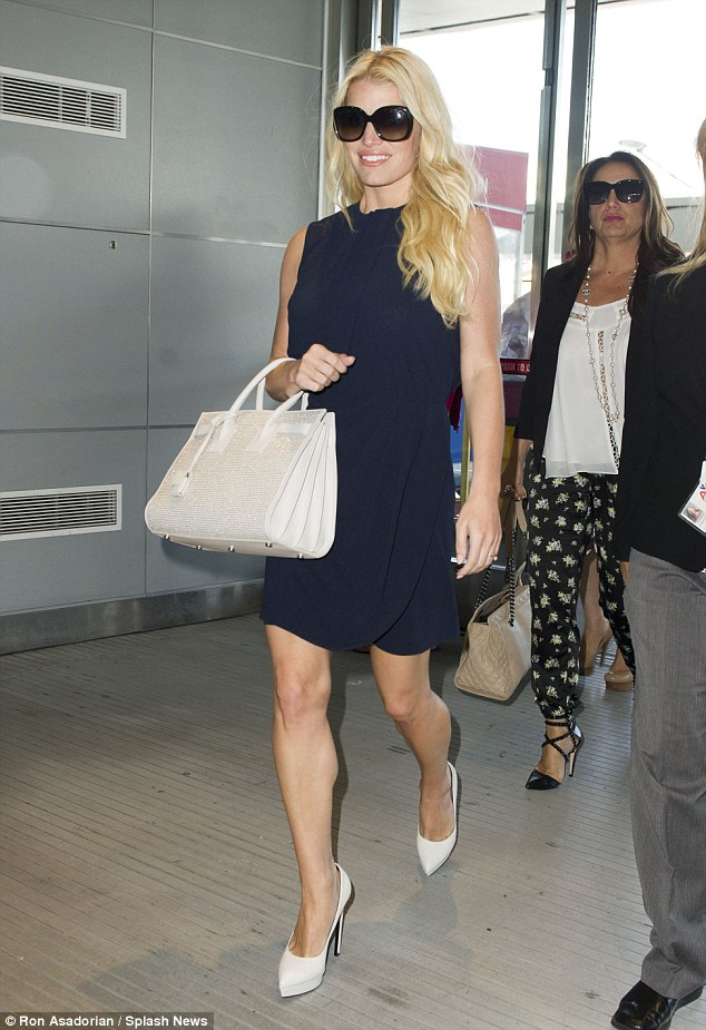 Jessica Simpson Navy Dress, Saint Laurent Studded Satchel